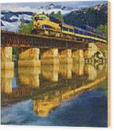 Alaska Railroad Reflections Wood Print
