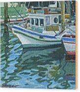 Alaskan Boats In Rippling Water Wood Print by Shalece Elynne