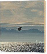 Alaskan Eagle At Sunset Wood Print