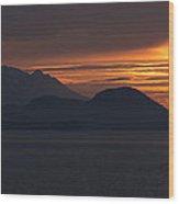 Alaskan Mountain Sunset Wood Print