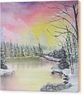 Alaskan Sunset Wood Print
