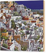 alba a Santorini Wood Print by Guido Borelli