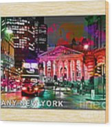 Albany New York Skyline Painting Wood Print
