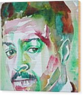 Albert Ayler - Watercolor Portrait Wood Print