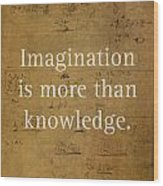 Albert Einstein Quote Imagination Science Math Inspirational Words On Worn Canvas With Formula Wood Print