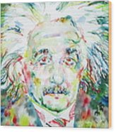 Albert Einstein Watercolor Portrait.1 Wood Print