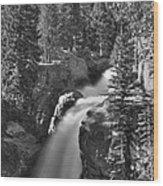 Alberta Falls In B-w Wood Print