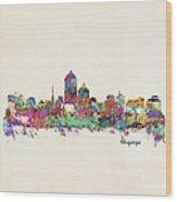 Albquerque New Mexico Skyline Pillow Wood Print