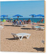 Albufeira Beach Wood Print