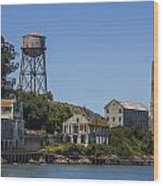 Alcatraz Dock And Water Tower Wood Print