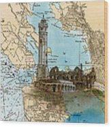 Alcatraz Island Lighthouse Ca Nautical Chart Map Art Wood Print