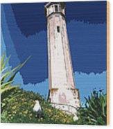 Alcatraz Lighthouse Wood Print