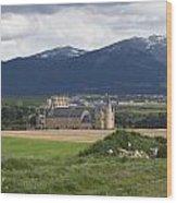 Alcazar Against The Mountains Wood Print