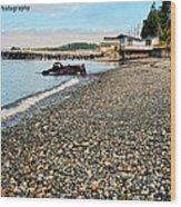 Alert Bay Beach Scape Wood Print