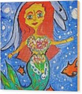Alexandra's Mermaid Swims With The Dolphins Wood Print