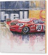 Alfa Romeo T33 B2 Le Mans 24 1968 Galli Giunti Wood Print