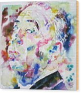 Alfred Hitchcock Watercolor Portrait.1 Wood Print