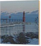 Algoma Lightohouse In The Early Evening Wood Print