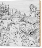 Ali Baba Cover Sketch Wood Print