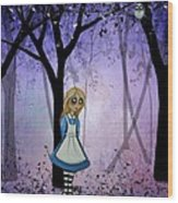 Alice In An Enchanted Forest Wood Print