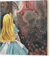 Alice In Mushroom Acres Wood Print