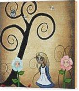 Alice In Wonderland Art - Alice And Flowers Wood Print