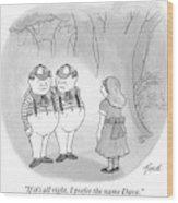 Alice Is Seen Talking With Tweedle-dee Wood Print