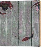 Alice On The Fence Wood Print