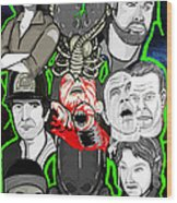 Alien 35th Anniversary Collage Wood Print by Gary Niles