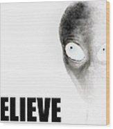 Alien Grey - Believe Inverted Wood Print by Pixel Chimp