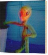 Alien In His Back Yard By The Pool Is Startled By Big Foot And Shrieks Like Schoolgirl Wood Print