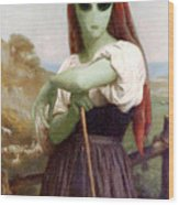 Alien Shepherdess Wood Print