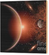 Alien Sunrise On A Distant Alien World Wood Print