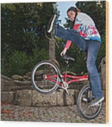 Alive And Kicking - Bmx Flatland Power Girl Wood Print