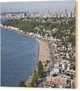 Alki Beach And Downtown Seattle Wood Print