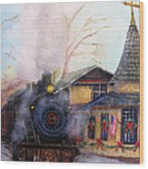 All Aboard At The New Hope Train Station Wood Print