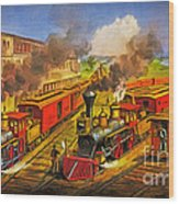 All Aboard The Lightning Express 1874 Wood Print