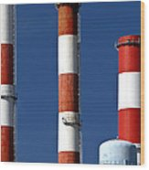 All American Industry Smokestacks Wood Print