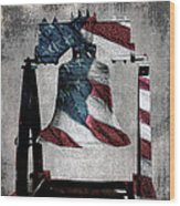 All American Liberty Bell Art_denim Wood Print