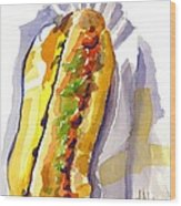 All Beef Ballpark Hot Dog With The Works To Go In Broad Daylight Wood Print by Kip DeVore
