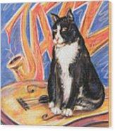All That Jazz Cat Wood Print