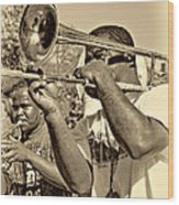 All That Jazz Sepia Wood Print