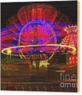 All The Rides Moving At Once Wood Print