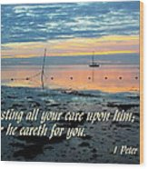 All Your Cares Wood Print