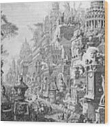 Allegorical Frontispiece Of Rome And Its History From Le Antichita Romane  Wood Print by Giovanni Battista Piranesi