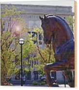 Allentown Pa Old Lehigh County Courthouse And Davinci I Horse  Wood Print