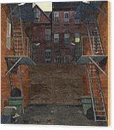 Alley At Dusk Wood Print