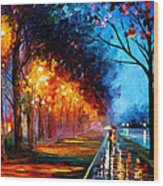 Alley By The Lake 2 - Palette Knife Oil Painting On Canvas By Leonid Afremov Wood Print