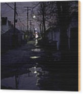 Alley Night Wood Print