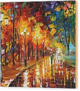 Alley Of The Memories - Palette Knife Oil Painting On Canvas By Leonid Afremov Wood Print